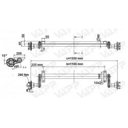 Náprava na přívěsný vozík KNOTT G 13, 1300 kg, 1100 mm, 100x4, nízké patky