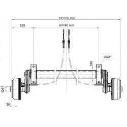 Náprava na přívěsný vozík KNOTT GB 10, 1000 kg, 740 mm, 200x50, 100x4
